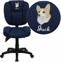 Embroidered Mid-Back Navy Blue Fabric Multi-Functional Ergonomic Task Chair