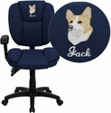 Embroidered Mid-Back Navy Blue Fabric Multi-Functional Ergonomic Swivel Task Chair with Height Adjustable Arms