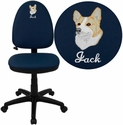 Embroidered Mid-Back Navy Blue Fabric Multi-Functional Swivel Task Chair with Adjustable Lumbar Support