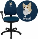 Embroidered Mid-Back Navy Blue Fabric Multi-Functional Task Chair with Arms and Adjustable Lumbar Support