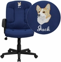 Embroidered Mid-Back Navy Fabric Executive Chair with Nylon Arms