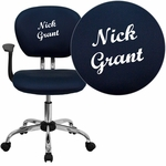 Embroidered Mid-Back Navy Mesh Swivel Task Chair with Chrome Base and Arms [H-2376-F-NAVY-ARMS-EMB-GG]