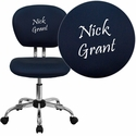 Embroidered Mid-Back Navy Mesh Swivel Task Chair with Chrome Base