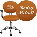 Embroidered Mid-Back Orange Mesh Swivel Task Chair with Chrome Base and Arms