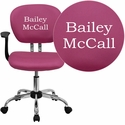 Embroidered Mid-Back Pink Mesh Swivel Task Chair with Chrome Base and Arms