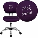 Embroidered Mid-Back Purple Mesh Swivel Task Chair with Chrome Base