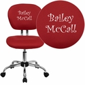 Embroidered Mid-Back Red Mesh Swivel Task Chair with Chrome Base