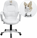 Embroidered Mid-Back White Leather Executive Office Chair