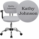 Embroidered Mid-Back White Mesh Swivel Task Chair with Chrome Base and Arms