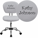 Embroidered Mid-Back White Mesh Swivel Task Chair with Chrome Base
