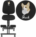 Embroidered Mobile Ergonomic Kneeling Posture Chair in Black Fabric with Back