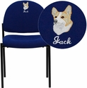 Embroidered Navy Fabric Comfortable Stackable Steel Side Chair