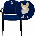 Embroidered Navy Fabric Comfortable Stackable Steel Side Chair with Arms