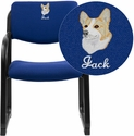 Embroidered Navy Fabric Executive Side Chair with Sled Base