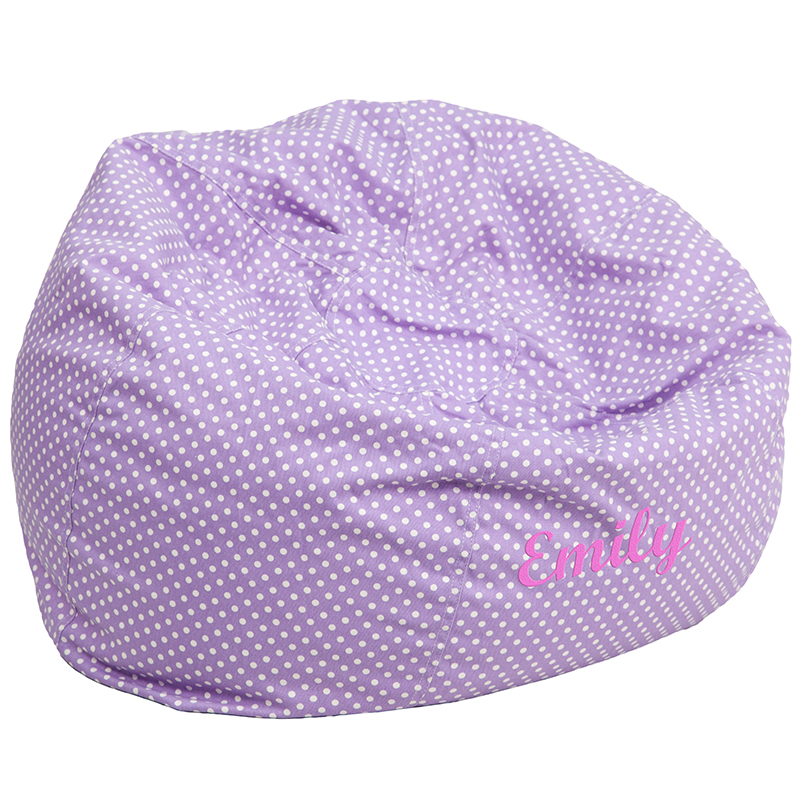Personalized Oversized Lavender Dot Bean Bag Chair DGBEANLARGE – Personalized Bag Chairs