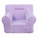 Personalized Small Lavender Dot Kids Chair with White Piping [DG-CH-KID-DOT-PUR-EMB-GG]