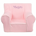 Personalized Small Light Pink Dot Kids Chair with White Piping [DG-CH-KID-DOT-PK-EMB-GG]