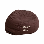 Personalized Small Solid Brown Kids Bean Bag Chair [DG-BEAN-SMALL-SOLID-BRN-EMB-GG]