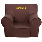 Personalized Small Solid Brown Kids Chair [DG-CH-KID-SOLID-BRN-EMB-GG]