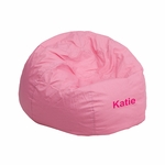 Personalized Small Solid Light Pink Kids Bean Bag Chair [DG-BEAN-SMALL-SOLID-PK-EMB-GG]