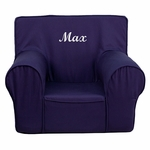 Personalized Small Solid Navy Blue Kids Chair [DG-CH-KID-SOLID-BL-EMB-GG]
