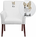 Embroidered White Leather Executive Side Chair or Reception Chair with Mahogany Legs