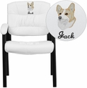 Embroidered White Leather Guest / Reception Chair with Black Frame Finish