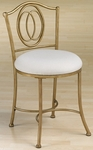 Emerson Metal 31''H Vanity Stool with Neutral Fabric Seat - Golden Bronze [50945-FS-HILL]