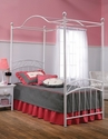 Emily Powder Coated Metal Canopy Bed Set with Rails and Canopy - Twin - White
