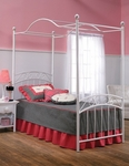Emily Powder Coated Metal Canopy Bed Set with Rails and Canopy - Twin - White [11180BTWPR-FS-HILL]