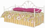 Emma Classic Metal Daybed with Link Spring and Pop-Up Trundle - Antique White [B61050-FS-FBG]