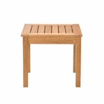 Square Natural Unstained Teak Slatted Top 17.75''W x 16''H End Table - Light Brown [CR1202-FS-SENT]