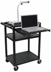 Endura 3 Shelf Mobile Computer Workstation - Black - 24''W x 18''D x 33''H [LEMFP-B-FS-LUX]