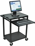 Endura 33''H Molded Plastic 2 Shelf Mobile Computer Workstation - Black [LEMSS-B-FS-LUX]