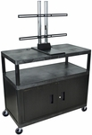 Extra Wide 3 Shelf Wide Cart with Universal LCD Mount and Locking Cabinet - Black - 48''W x 24''D x 38''H [LEW40CUD-B-FS-LUX]
