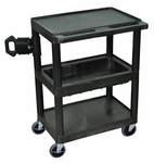Mobile 3 Shelf Overhead Projector Table with Tub Shelf - Black - 24''W x 15.75''D x 33.5''H [OHS32-B-FS-LUX]