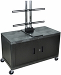 Extra wide 2 Shelf Mobile A/V Cart with Universal LCD Mount and Locking Cabinet - Black - 48''W x 24''D x 28.5''H [LEW29CUD-B-FS-LUX]