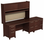 Enterprise 72'' W Double Pedestal Desk with Hutch and Two Drawer Lateral File - Harvest Cherry [ENT001CS-FS-BBF]