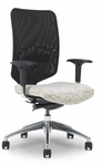 Newair 26.5'' W x 28'' D x 40.4'' H Adjustable Height Medium Back Task Chair - Black Back with Chrome Base [E-67782-CB-FS-EOF]