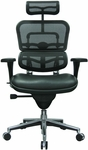 Ergohuman Series High Back 26.5'' W x 29'' D x 46'' H Adjustable Height Task Chair - Black Leather and Mesh [LEM4ERG-FS-EURO]