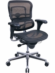 Ergohuman Series Mid Back 26.5'' W x 29'' D x 39.5'' H Adjustable Height Mesh Office Chair - Black [ME8ERGLO-W09-1-FS-EURO]