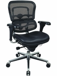 Ergohuman Series Mid Back 26.5'' W x 29'' D x 39.5'' H Adjustable Height Executive Chair - Black Leather and Mesh [LEM6ERGLO-FS-EURO]