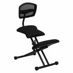 Ergonomic Kneeling Chair with Black Mesh Back and Fabric Seat [WL-3440-GG]