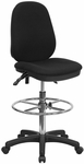 Black Multi-Functional Ergonomic Drafting Chair with Adjustable Foot Ring [KC-B802M1KG-GG]
