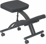 Work Smart Ergonomically Designed Knee Chair with Casters - Black [KCM1420-FS-OS]