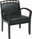 Work Smart Four Leg Guest Chair with Upholstered Wood Crown Back - Espresso [WD1648-U6-FS-OS]