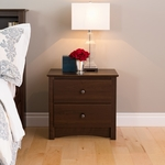 Fremont 2 Drawer 21.75''H Nightstand with Antique Bronze Finished Knobs - Espresso [EDC-2422-FS-PP]
