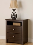 Fremont 28''H 2 Drawer Nightstand with Open Storage - Espresso [EDC-2428-FS-PP]