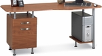 Eastwinds Espresso PC Desk with Box File Pedestal - Medium Cherry Top with Metallic Gray Frame [905MEC-FS-MAY]