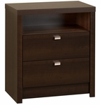 Series 9 Designer 2 Drawer 28''H Nightstand with Chrome Finished Metal Pulls - Espresso [EDNH-0529-1-FS-PP]